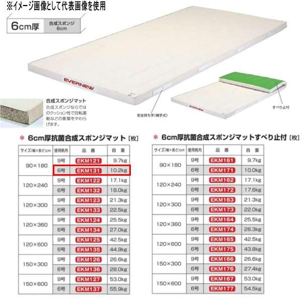 エバニュー 6cm厚抗菌合成スポンジマット EKM131 幅90×長180cm 6号帆布