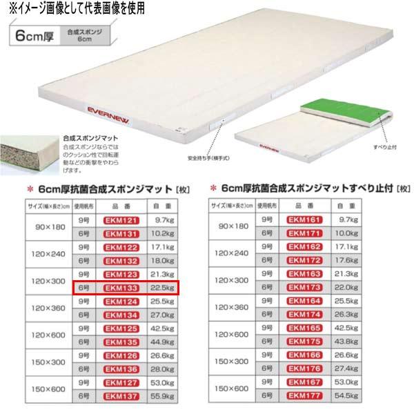 エバニュー 6cm厚抗菌合成スポンジマット EKM133 幅120×長300cm 6号帆布
