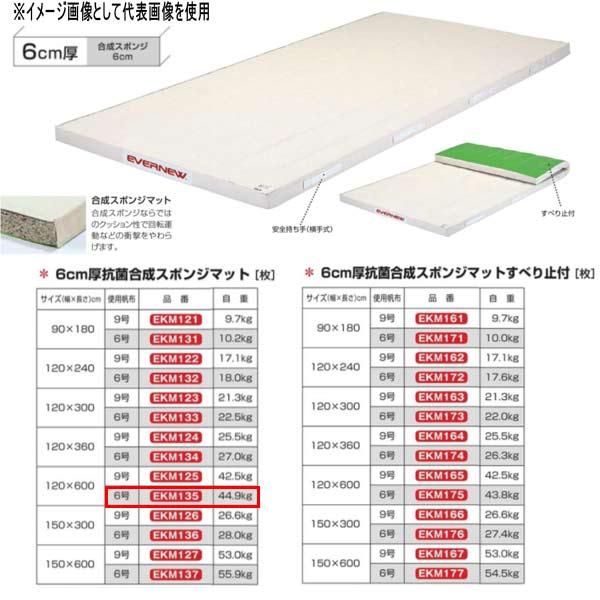 エバニュー 6cm厚抗菌合成スポンジマット EKM135 幅120×長600cm 6号帆布