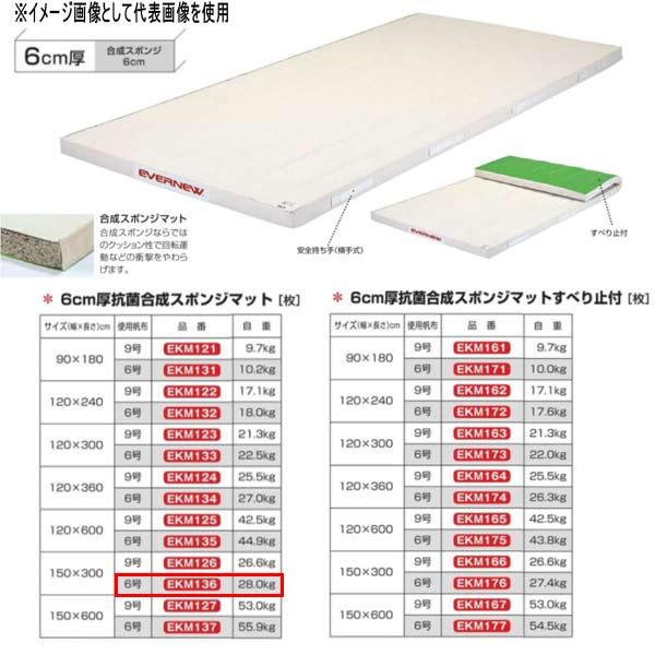 エバニュー 6cm厚抗菌合成スポンジマット EKM136 幅150×長300cm 6号帆布