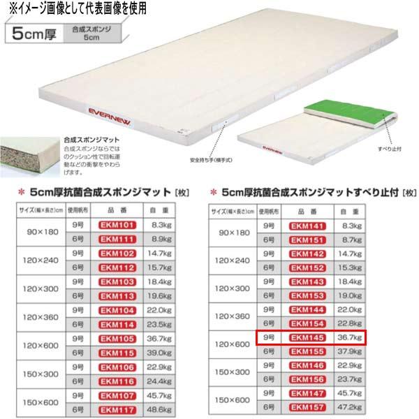 エバニュー 5cm厚 抗菌合成 スポンジマットすべり止付 EKM145 幅120×長600cm 9号帆布