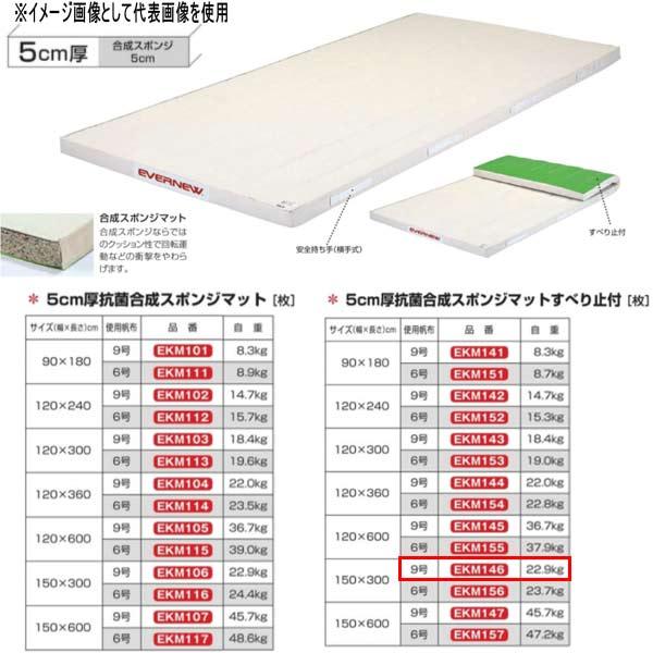 エバニュー 5cm厚抗菌合成スポンジマットすべり止付 EKM146 幅150×長300cm 9号帆布