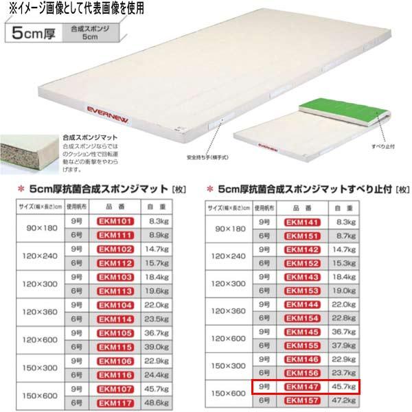 エバニュー 5cm厚 抗菌合成 スポンジマットすべり止付 EKM147 幅150×長600cm 9号帆布
