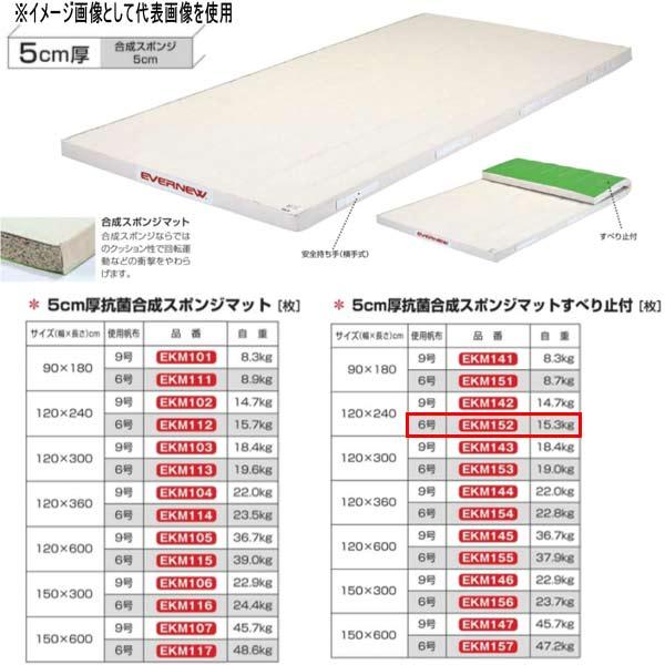 エバニュー 5cm厚 抗菌合成 スポンジマットすべり止付 EKM152 幅120×長240cm 6号帆布