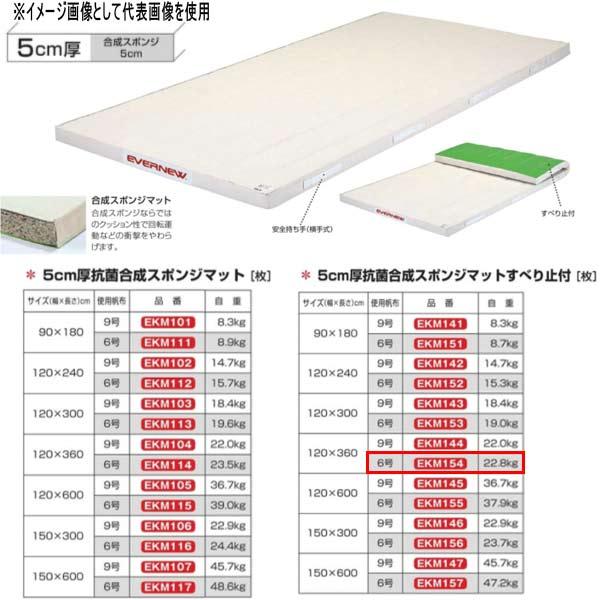エバニュー 5cm厚抗菌合成スポンジマットすべり止付 EKM154 幅120×長360cm 6号帆布