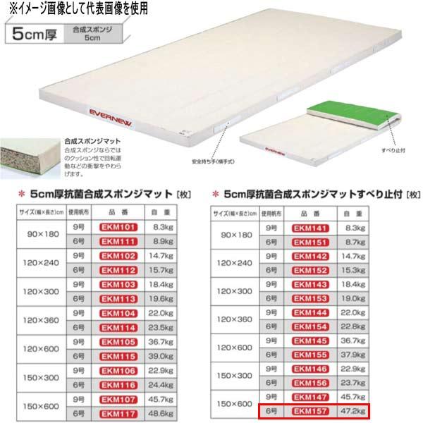 エバニュー 5cm厚抗菌合成スポンジマットすべり止付 EKM157 幅150×長600cm 6号帆布