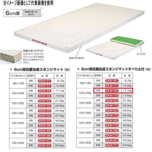 エバニュー 6cm厚 抗菌合成 スポンジマットすべり止付 EKM162 幅120×長240cm 9号帆布