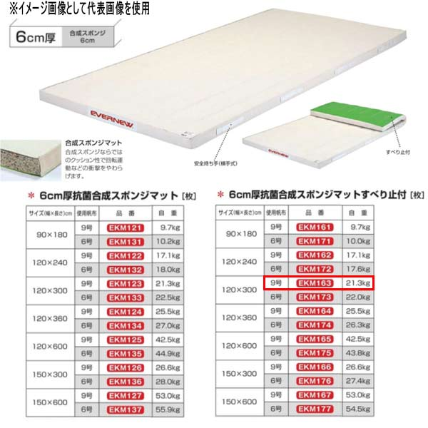 エバニュー 6cm厚抗菌合成スポンジマットすべり止付 EKM163 幅120×長300cm 9号帆布