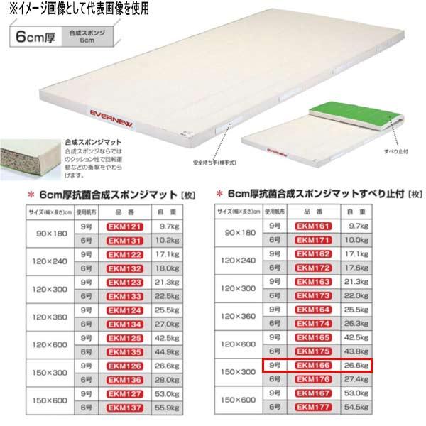 エバニュー 6cm厚抗菌合成スポンジマットすべり止付 EKM166 幅150×長300cm 9号帆布