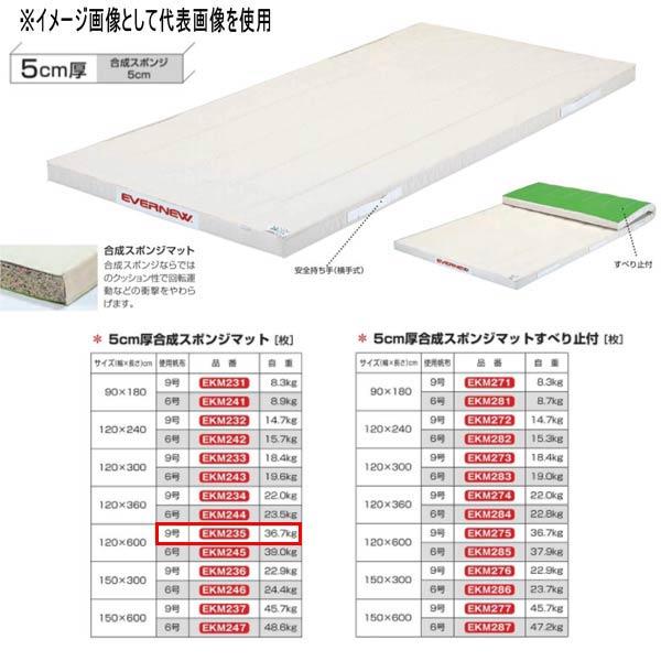 エバニュー 5cm厚合成スポンジマット EKM235 幅120×長600cm 9号帆布