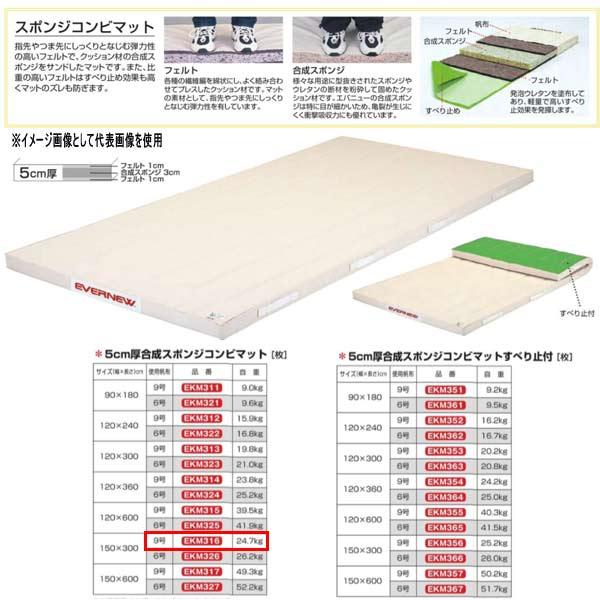エバニュー 5cm厚合成スポンジコンビマット EKM316 幅150×長300cm 9号帆布