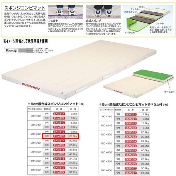エバニュー 5cm厚合成スポンジコンビマット EKM323 幅120×長300cm 6号帆布