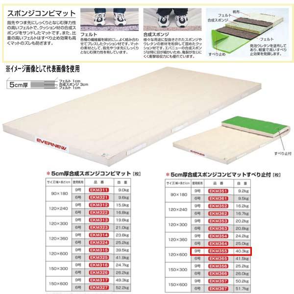 エバニュー 5cm厚合成スポンジコンビマットすべり止付 EKM355 幅120×長600cm 9号帆布