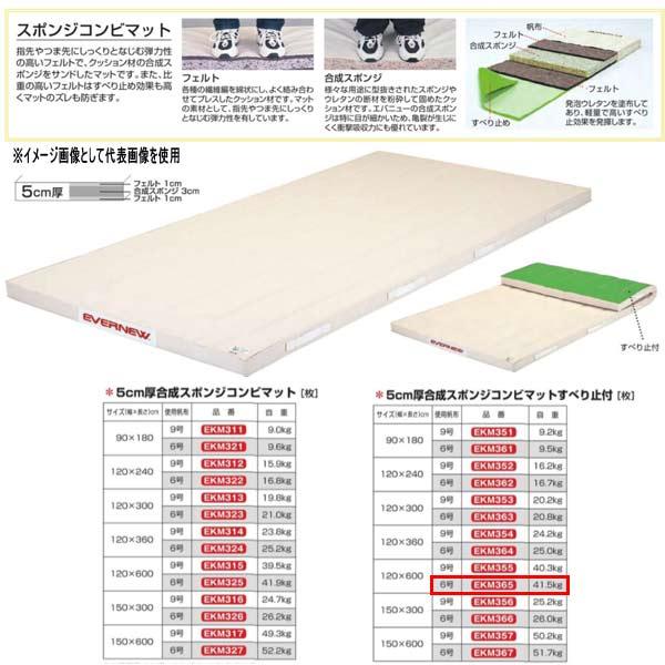 エバニュー 5cm厚合成スポンジコンビマットすべり止付 EKM365 幅120×長600cm 6号帆布