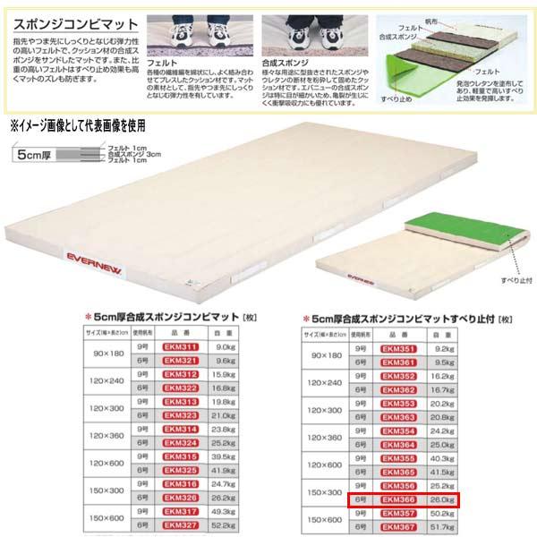 エバニュー 5cm厚合成スポンジコンビマットすべり止付 EKM366 幅150×長300cm 6号帆布