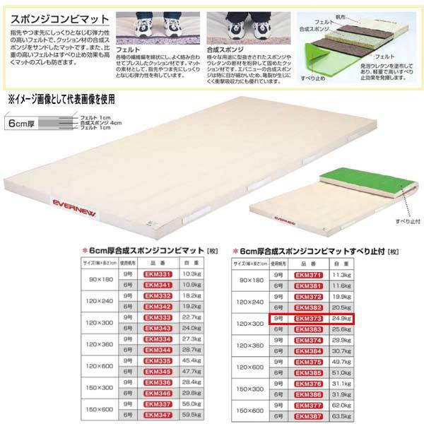 エバニュー 6cm厚合成スポンジコンビマットすべり止付 EKM373 幅120×長300cm 9号帆布