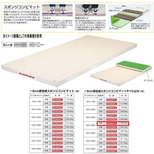 エバニュー 6cm厚合成スポンジコンビマットすべり止付 EKM374 幅120×長360cm 9号帆布