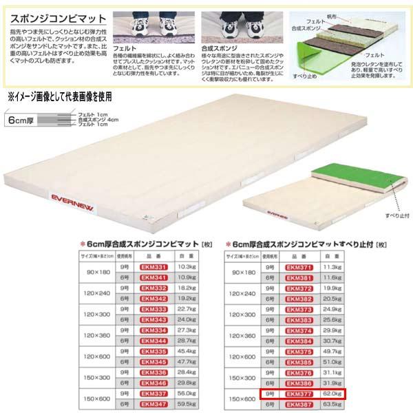 エバニュー 6cm厚合成スポンジコンビマットすべり止付 EKM377 幅150×長600cm 9号帆布