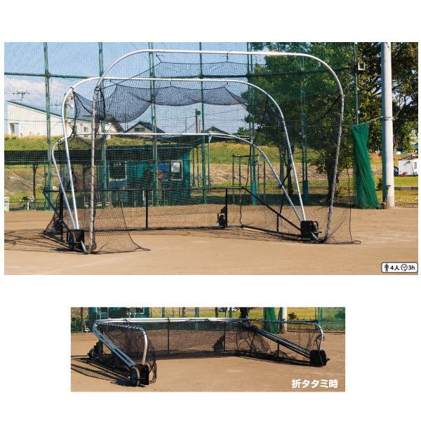 三和体育 バッティングケージ ハイブリッド仕様 高さ3.45m×奥行5.68m×幅5.48m S-4990