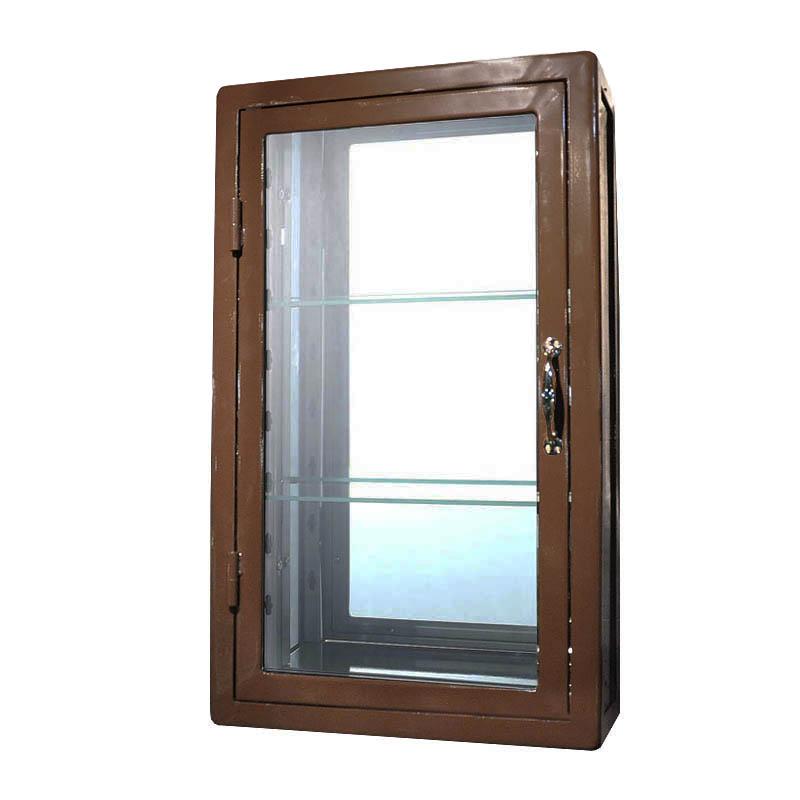 ダルトン ウォールマウント ガラスキャビネット レクタングル 115-312BR BROWN
