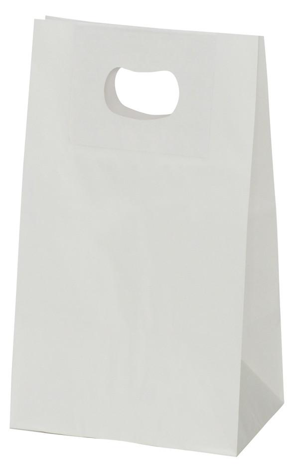 手提げ袋 349013 グリップタイプ角底袋 No.3 ホワイト 195×120×220 1000枚