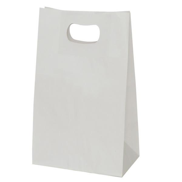 手提げ袋 349014 グリップタイプ角底袋 No.4 ホワイト 220×125×240 800枚