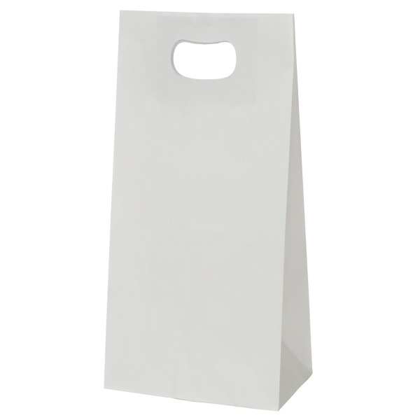 手提げ袋 349015 グリップタイプ角底袋 No.5 ホワイト 220×125×300 600枚