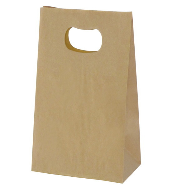 手提げ袋 349021 グリップタイプ角底袋 No.1 ブラウン 160×90×180 1000枚