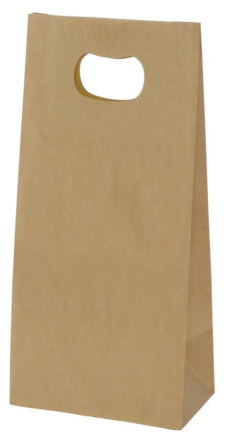 手提げ袋 349022 グリップタイプ角底袋 No.2 ブラウン 160×90×230 1000枚