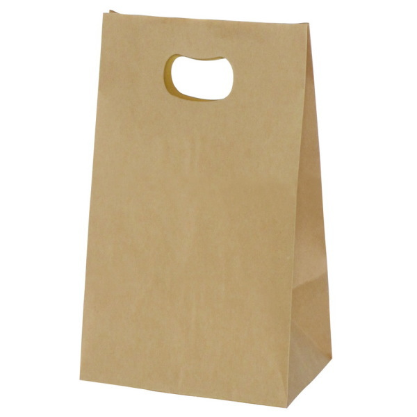 手提げ袋 349023 グリップタイプ角底袋 No.3 ブラウン 195×120×220 1000枚