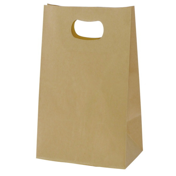 手提げ袋 349024 グリップタイプ角底袋 No.4 ブラウン 220×125×240 800枚
