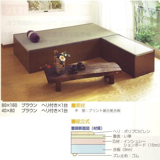 高床式ユニット畳 「望」 II型 80×80cm ヘリなし ブラウン/ライトブラウン 1つ