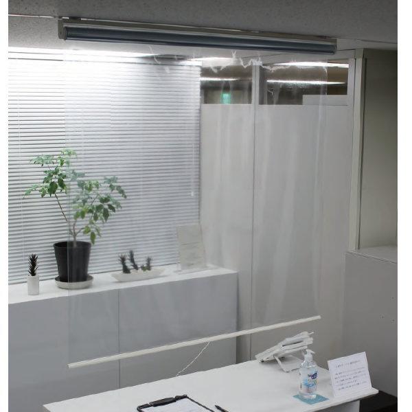 タチカワブラインド 透明ロールスクリーン 簡易間仕切り オーダーサイズ 幅495~800mm×高1610~2000mm