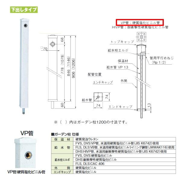 タキロン ガーデン柱70mm角 GDチュー 290333 みかげ 下出しタイプ 型式:DVS-900 10本