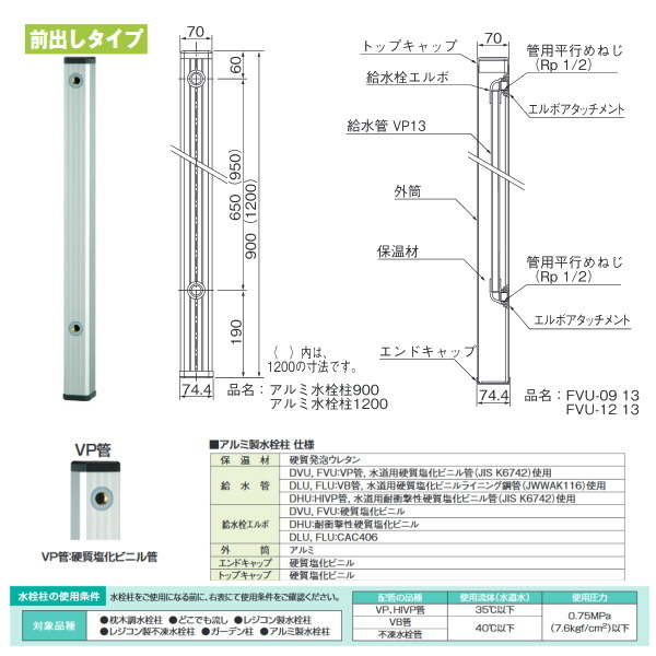 タキロン アルミ水栓柱 アルミチュー 304467 ステンカラー 前出しタイプ 型式:FVU-900 4本