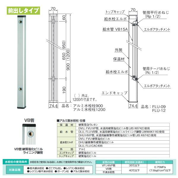 タキロン アルミ水栓柱 アルミチュー 304474 ステンカラー 前出しタイプ 型式:FLU-900 4本