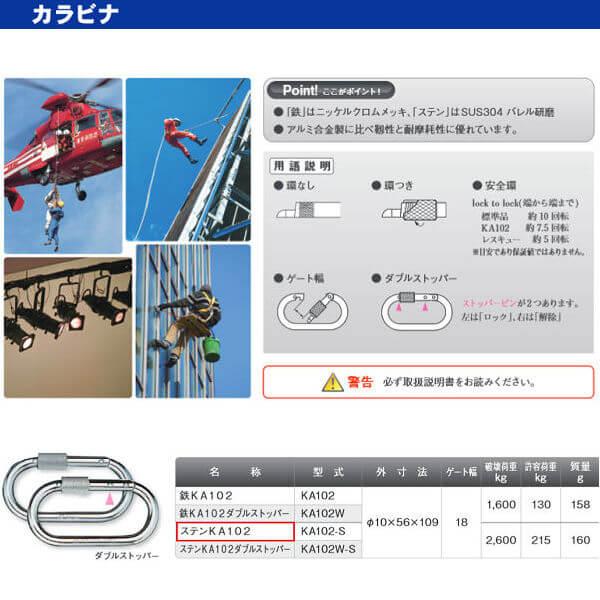 伊藤製作所 123 カラビナ ステンKA102 KA102-S 10×56×109 10個