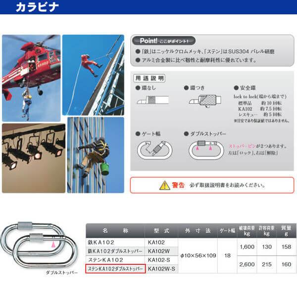 伊藤製作所 123 カラビナ ステンKA102ダブルストッパー KA102W-S 10×56×109 10個