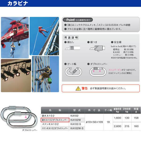 伊藤製作所 123 カラビナ 鉄KA102ダブルストッパー KA102W 10×56×109 10個