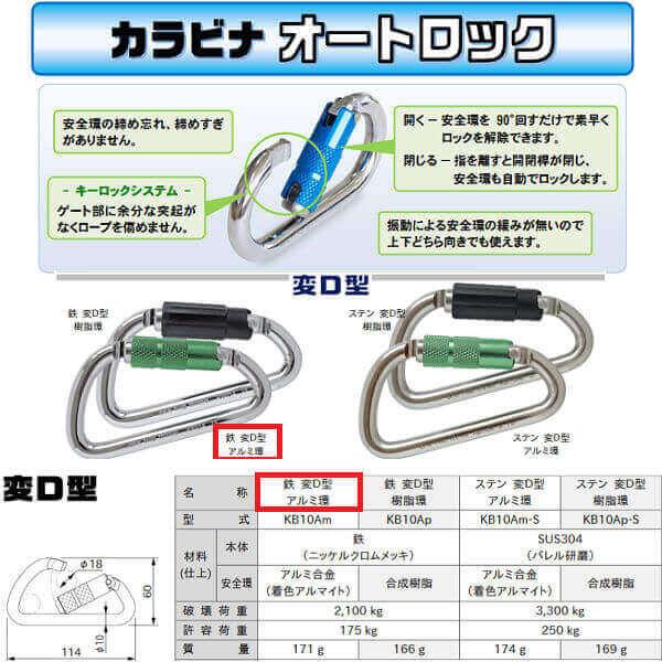 伊藤製作所 123 カラビナ オートロック 鉄変D型 アルミ環 KB10Am Φ10×60×114 10個