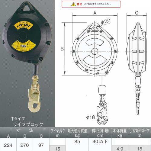 伊藤製作所 123 ワンツースリー Tタイプ ライフブロック LB-15T 高所作業用品