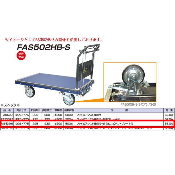 アイケーキャリー 始動時 フット式アシスト機能付台車 自在ピン式ハンドブレーキ付 FAS502HB