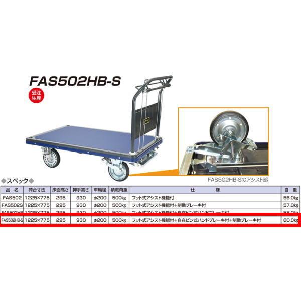 アイケーキャリー 始動時 フット式アシスト機能付台車 自在ピン式ハンドブレーキ付 制動ブレーキ付 FAS502HB-S