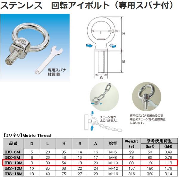限定価格セール ボルト ナット 水本機械 ステンレス ミリネジ IBS-10M 回転アイボルト 本日の目玉 専用スパナ付