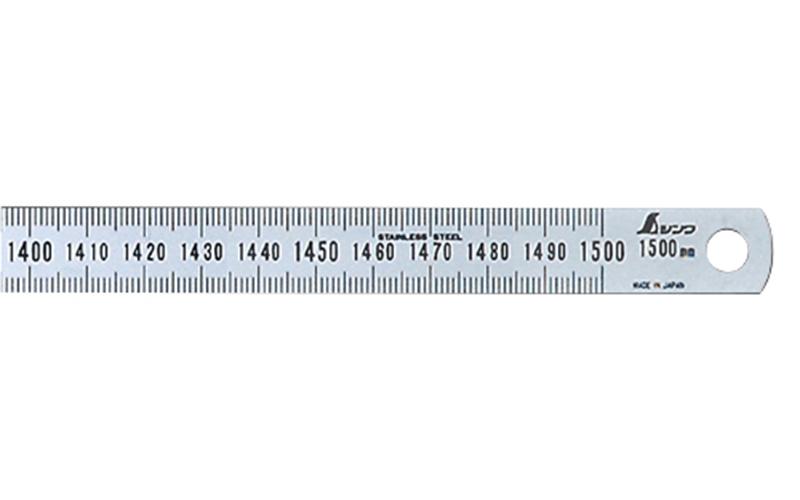 シンワ 細巾直尺 シルバー 1.5m 13285