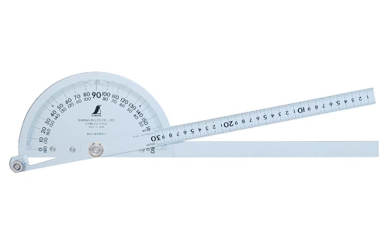 シンワ プロトラクター 300 シルバー φ210 竿目盛30cm 2本竿 62839