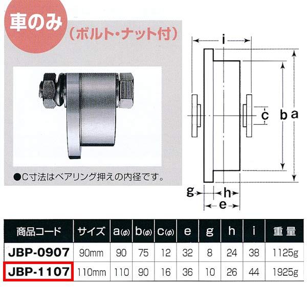 ヨコヅナ ステンレス重量戸車 トロ車型 車のみJBP-1107 110mm 1個