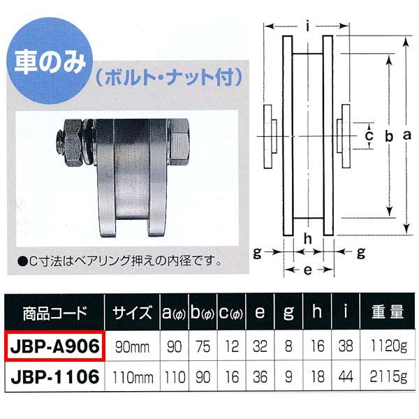 ヨコヅナ ステンレス重量戸車 H型 車のみJBP-A906 90mm 1個
