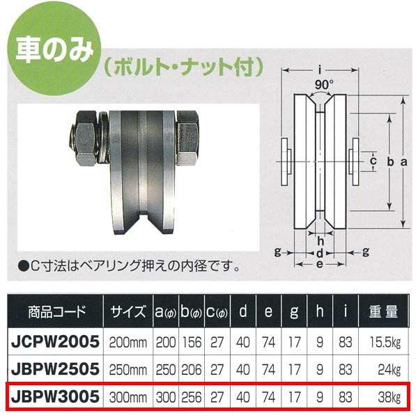 ヨコヅナ ステンレス重量戸車 ワイドタイプ 車のみ V型 JBPW3005 300mm 1個