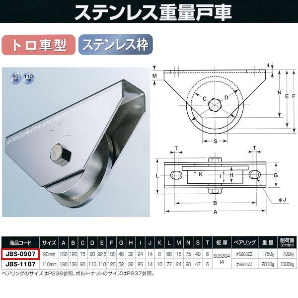 ヨコヅナ ステンレス重量戸車 トロ車型JBS-0907 90mm 1個